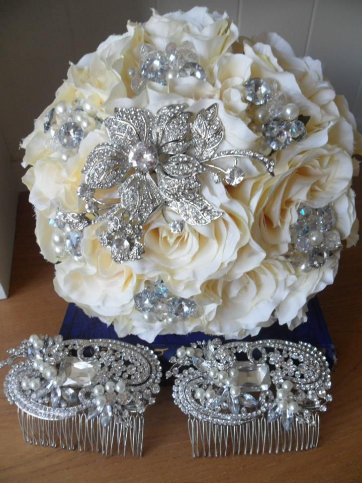 Cream Rose and Crystal flower bouquet