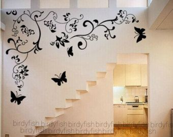 flower wall decals nursery vinyl wall decals flowers wall sticker stencil mural wall vinyl decal girl room decor with Butterfly decals