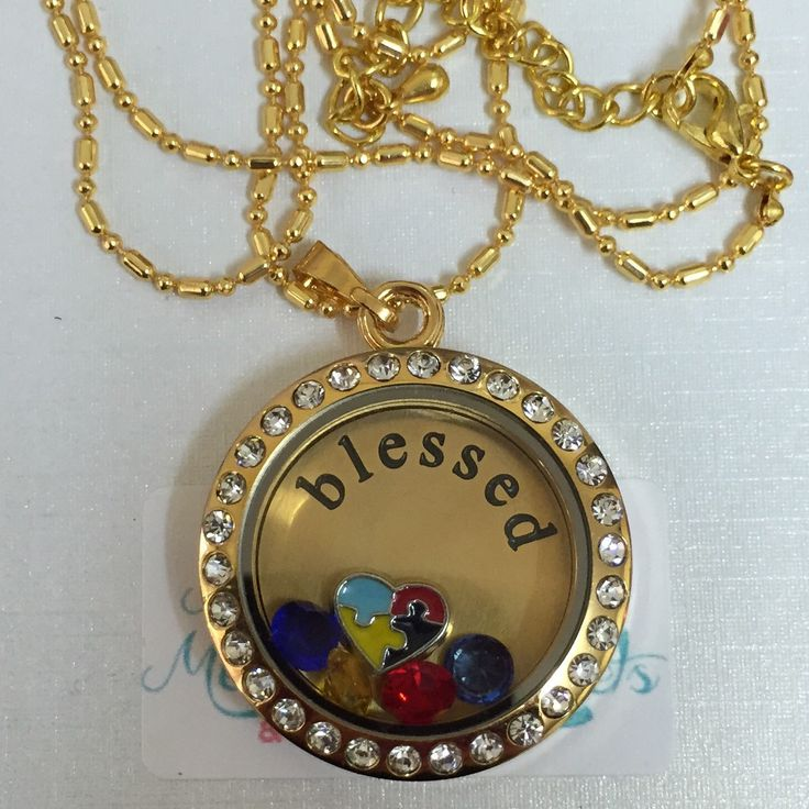 Autism Awareness memory locket set. Available in gold, rose gold and silver.  $1.00 from the sale of this locket goes to ASPECT Autism Australia.