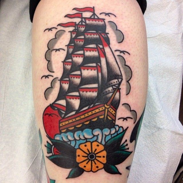 Awesome color on this sail ship // nautical themed tattoo by Cam Davis