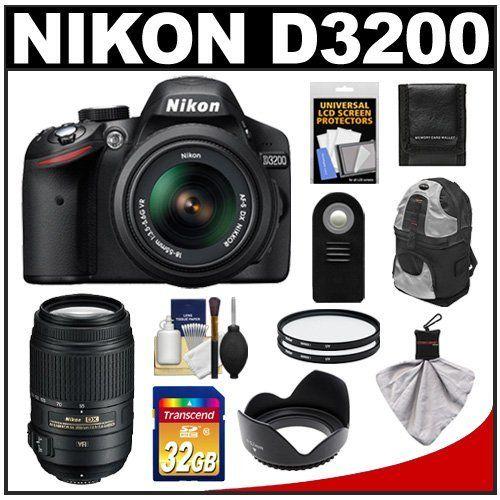 Nikon D3200 Digital SLR Camera & 18-55mm G VR DX AF-S Zoom Lens (Black) with 55-300mm VR Lens + 32GB Card + Backpack + Filters + Remote + Accessory Kit by Nikon. $879.95. Kit includes:♦ 1) Nikon D3200 Digital SLR Camera & 18-55mm G VR DX AF-S Zoom Lens (Black)♦ 2) Nikon 55-300mm f/4.5-5.6G VR DX AF-S ED Zoom-Nikkor Lens♦ 3) Transcend 32GB SecureDigital Class 10 (SDHC) Card♦ 4) Zeikos Deluxe Sling DSLR Backpack♦ 5) Zeikos 52mm Tulip Hard Lens Hood♦ 6) Vivitar 52mm UV...