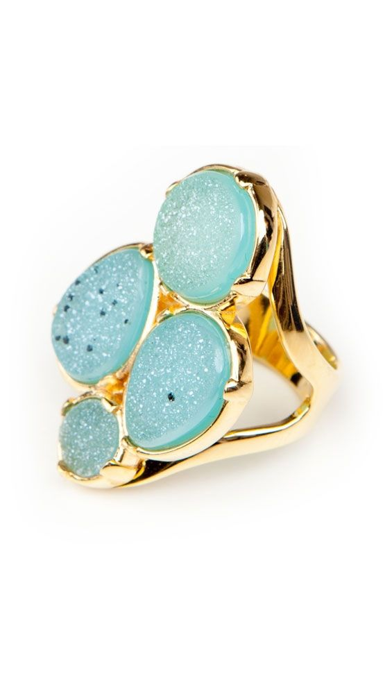Four Druzy Ring by Marcia MoranFashion, Druzy Rings, Beautiful Rings, Beautiful Turquoise, Gold Rings, Jewelry, Something Blue, Marcia Moran, Aqua Druzy