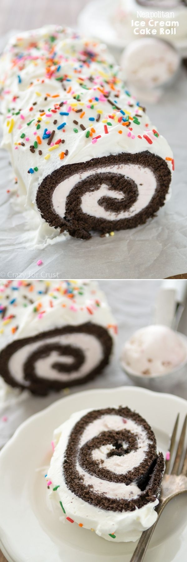 Neapolitan Ice Cream Cake Roll - use your favorite flavor ice cream to make your perfect cake roll!