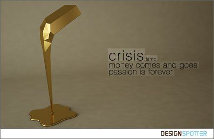 en:  Have you already meet our new lamp?   CRISIS lamp    It's Gold bar with led lights. A metaphor for the world crisis, a gold bar that melts down as we start to realize that with passion everything is worth it.  Check it on meikstudio official fanpage...   www.facebook.com/meikindustrialdesign