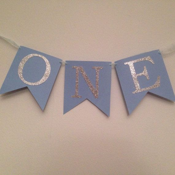 First Birthday Party Banner ~ ONE Blue & Silver Glitter Birthday Banner ~ First Birthday Party Decorations, Boys Birthday Party, Photo Prop