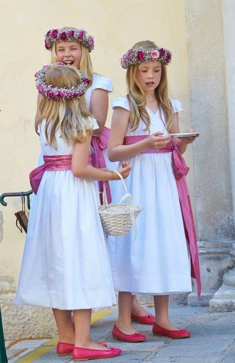 Princess Amalia, Alexia en Ariane attended the wedding of Queen Maxima's younger brother Juan Zorreguieta to Andrea Wolf at Palais Liechtenstein in Vienna, Austria, June 7, 2014