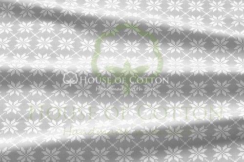 Bawełna szaro-białe kwiaty haft