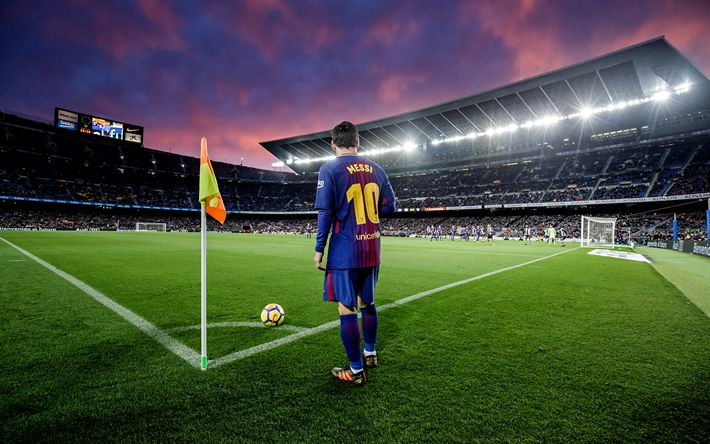 Download wallpapers Lionel Messi, Barcelona, La Liga, Spain, corner kick, football stadium, 4k, Leo Messi, Camp Nou