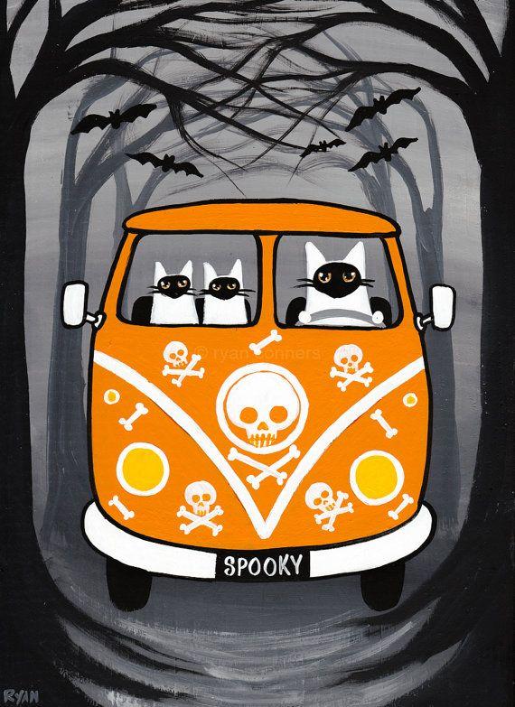Spooky Ghost Cats Halloween Original Folk Art Painting by KilkennycatArt