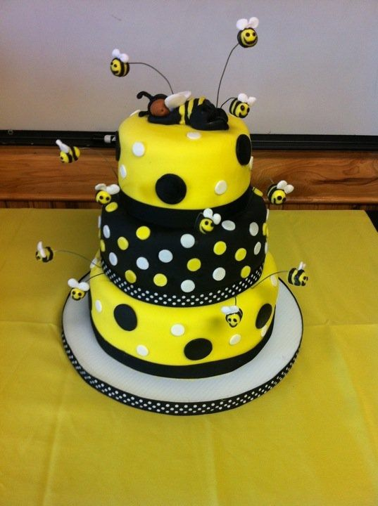 Bumble Cake Made For A Bee Themed Baby Shower Sleeping On Top Is