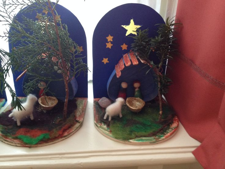 Kerststal gemaakt door kleuters.