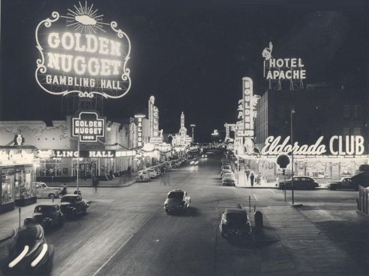 """Las Vegas, NV. beginning. The world-famous neon signs. Club «Eldorado» was later bought by the legendary Benny Binion and renamed «Horseshoe». """"Horseshoe"""" is now one of the most famous names in the gaming industry."""