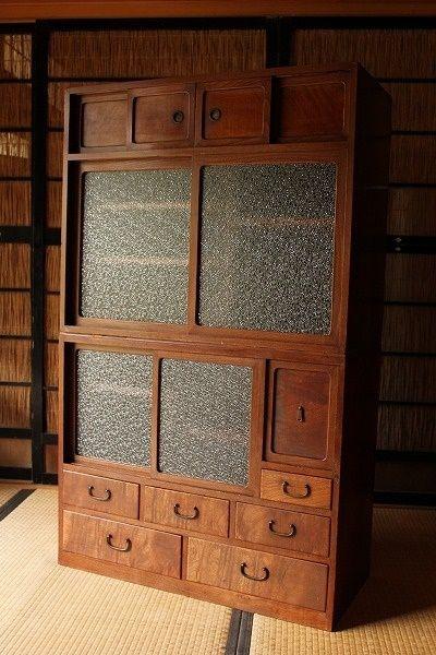 前欅製の重ね茶箪笥/ダイヤガラス戸棚/食器棚/収納棚