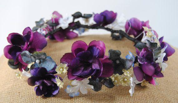 Purple Flower Crown Fall Jeweled Crown Purple by TwoBrightStars