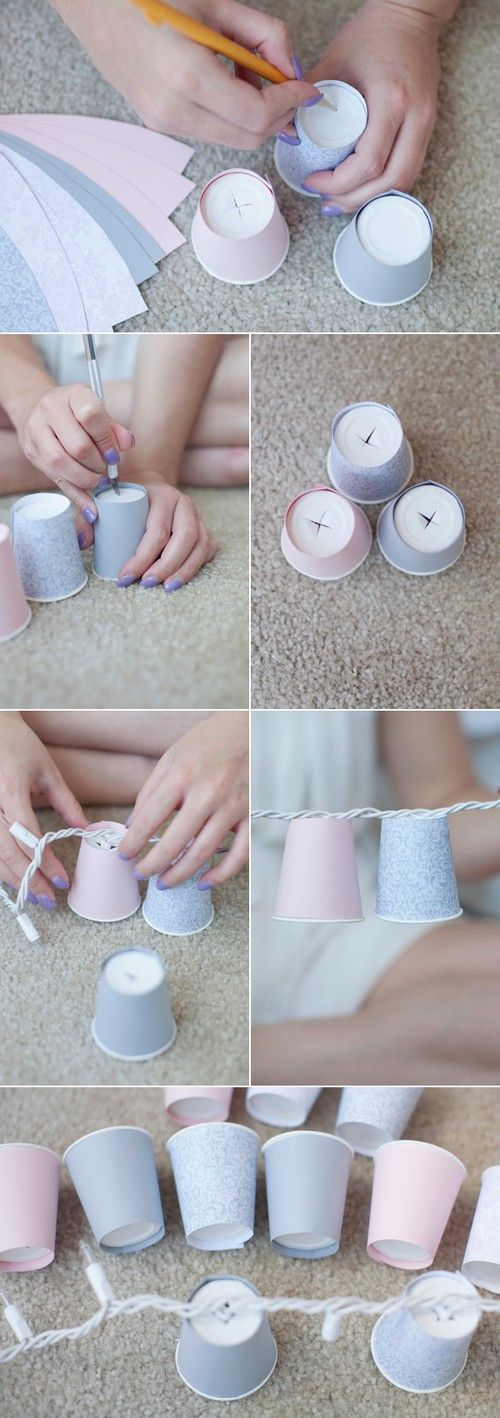 Paper cups and Christmas lights for a softer glow.  Use for the porch, backyard, kids room, or anything else you can think of .