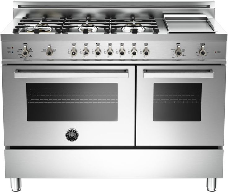 Bertazzoni PRO486GGASX 48 Inch Pro-Style Gas Range with 6 Sealed Brass Burners, 3.6 cu. ft. Main Convection Oven, Manual Clean, Electric Griddle and Storage Compartment: Stainless Steel, Natural Gas