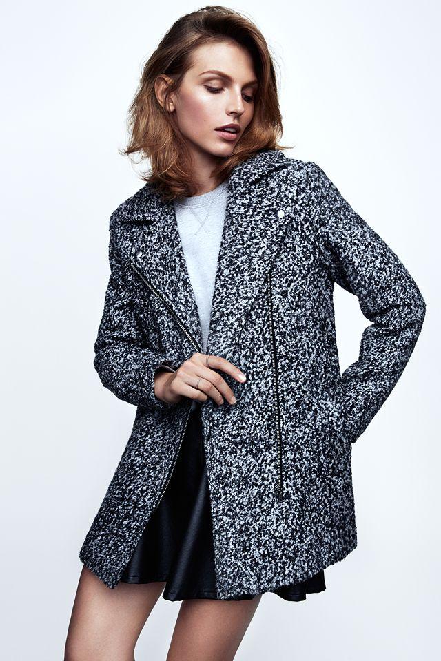 Wool bouclé biker coat with diagonal zipper. #WARMINHM