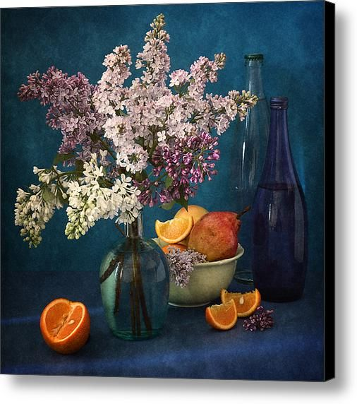 $52.04 Canvas Print: http://nikolay-panov.artistwebsites.com/products/lilacs-and-oranges-nikolay-panov-canvas-print.html Floral still life with bouquet of pink and white lilacs, fresh fruit and oranges on bright blue background