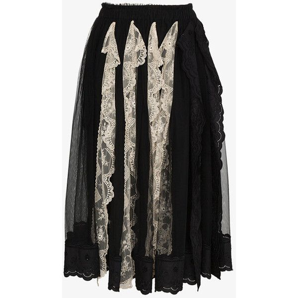 Simone Rocha Pleated Lace Trim Skirt (4,395 PEN) ❤ liked on Polyvore featuring skirts, black, pleated skirt, cotton knee length skirt, simone rocha, knee length pleated skirt and lace trim skirt