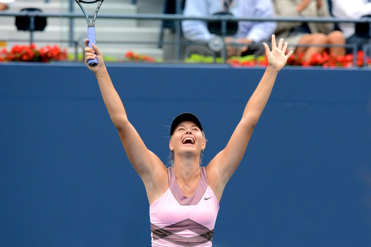 Maria Sharapova (RUS)[3] celebrates after defeating Marion Bartoli (FRA)[11] at the US Open.  - Rob Loud/USTA