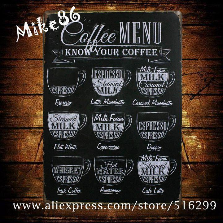 Vintage Metal Sign 'COFFEE MENU-Mike86' Pub Art Wall Decor