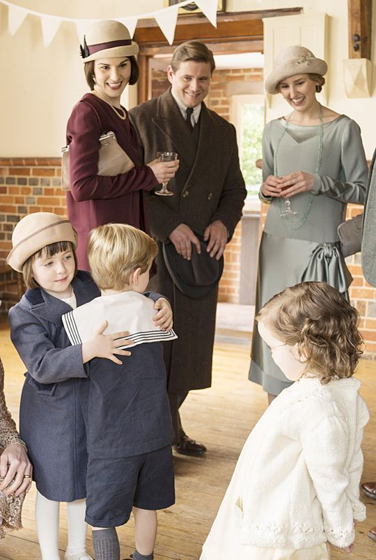 Downton Abbey Season 6: Tom Branson and daughter Sybbie return from America. The other children are Lady Mary's son George and Lady Edith's daughter Marigold.