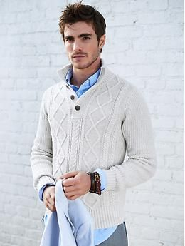 Love this sweater. | Plaited Button-Mock Pullover | Banana Republic