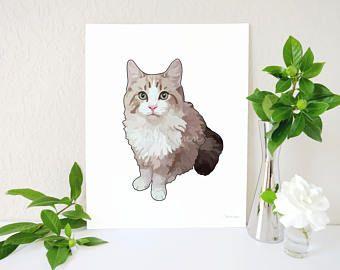 Impresión del arte del gato Tabby naranja pintura de gato