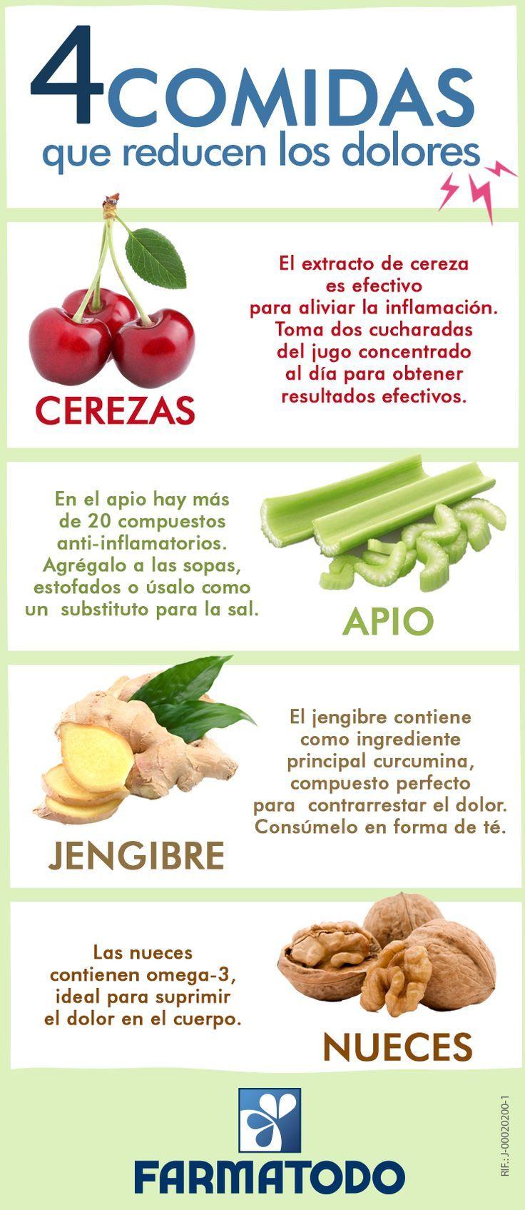 4 comidas que nos ayudan a reducir el dolor. #nutricion #salud #infografia