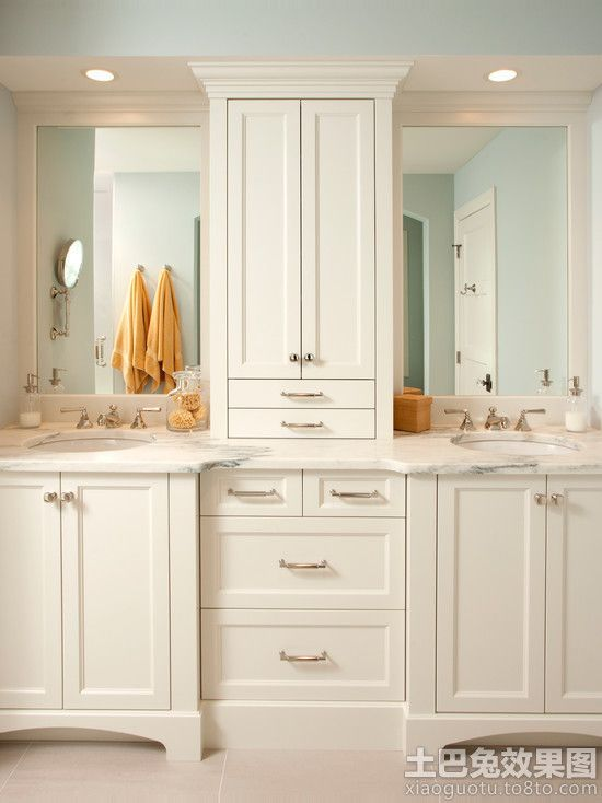 Master bathroom vanities double sink with makeup | Vanity Organization Design Ideas, Pictures, Remodel and Decor // Good use for a small space - must be custom though. Description from pinterest.com. I searched for this on bing.com/images