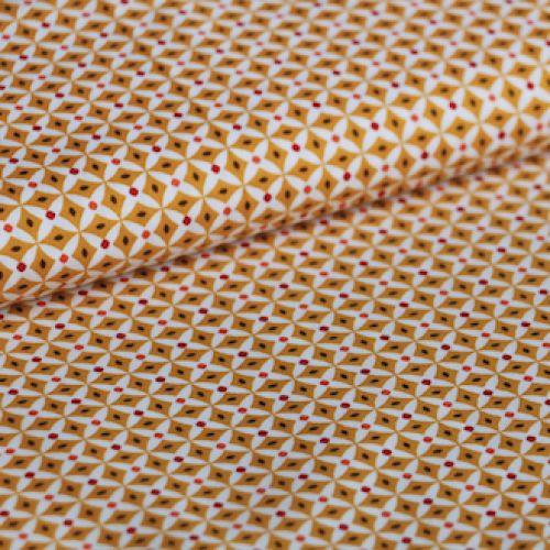 Kleurenset: Retro Rusty Brown  Kleuren:  Donker bruin Oker Roestbruin Wit  De figuur bestaande uit 4 ruitvormen heeft een hoogte van 1,8 cm  Materiaal: 100% gekamde katoen met een zacht en soepel gevoel.  Gewicht: 110 gram / light weight  Stofbreedte: 145cm  Vlot strijkbaar - machinewasbaar op 30° - mag in de droogkast  Kleurvast en minimale krimp. Oeko-Tex gecertifiëerd.  Tip: voor het vernaaien/verwerken, kan je je stof best altijd even voorwassen. Let op: De kleuren op je beeldscherm…