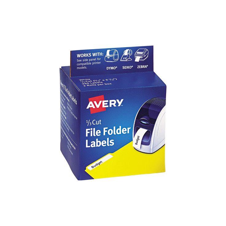 Avery Thermal Printer Labels, 1/3 Cut File Folder, White, 130/Roll, 2 Rolls/Box
