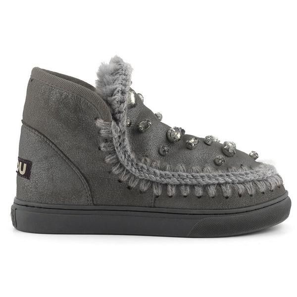 MOU Mini Eskimo Sneaker With Rhinestones Women Boots Charcoal Metallic - MOU Christmas Day Deals (289€->215€) AVAILABLE NOW! #christmas #ChristmasSale #christmasdeals