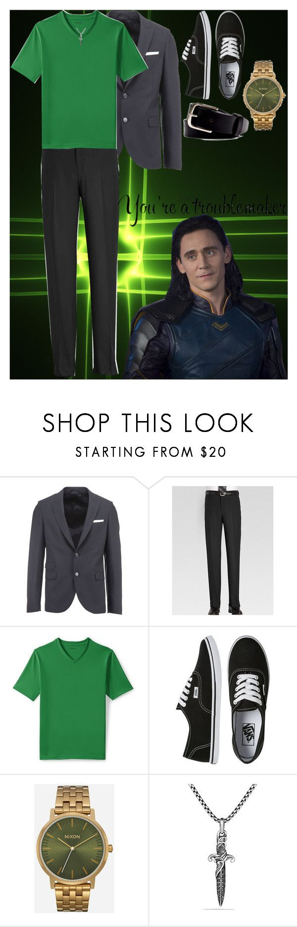 """Dude Looks like a Lady Loki"" by xx-black-blade-xx ❤ liked on Polyvore featuring Neil Barrett, Feiss, Lands' End, Vans, Nixon, David Yurman, APOLIS, men's fashion and menswear"