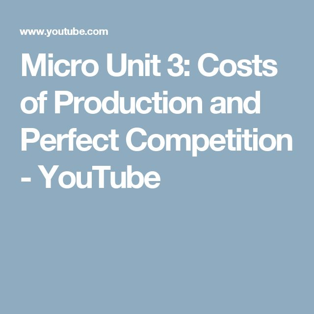 Micro Unit 3: Costs of Production and Perfect Competition - YouTube
