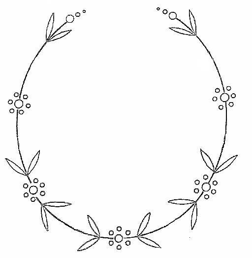 Oval Floral Frame Hand Embroidery Pattern