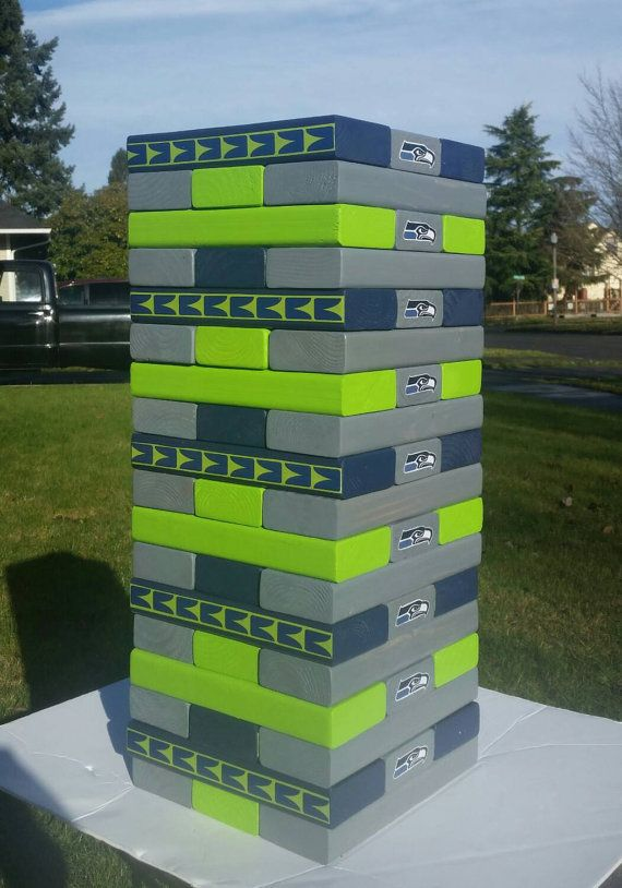 Seattle Seahawks Giant Jenga Football Sunday just got a lot funnier! Check out this item in my Etsy shop https://www.etsy.com/listing/259455847/seattle-seahawks-giant-jenaga