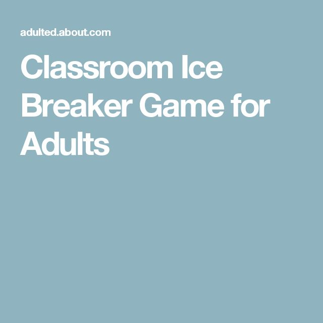 Classroom Ice Breaker Game for Adults