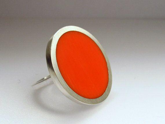 Statement Ring - Big Round Orange Resin Ring - Orange Rings - Large Ring - One Inch Silver Ring - Sixties Pop Art Jewelry