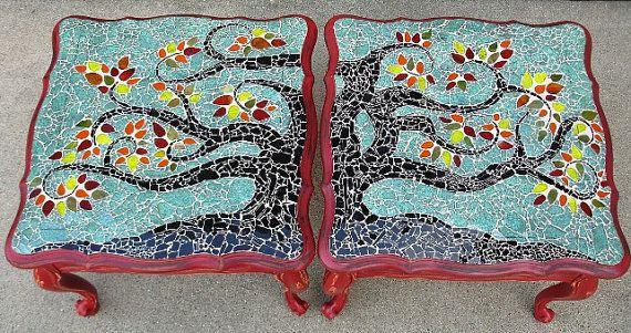 Mosaic Coffee End Tables OOAK Tree Aqua Red Black Green Yellow Orange. $1,200.00, via Etsy.