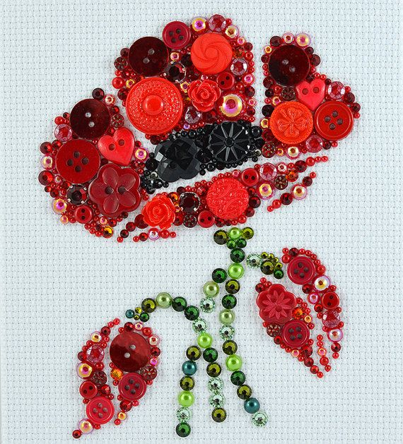 Button Art - Poppy in Bloom - Vintage Button Artwork, Wall Hanging, Red Poppy Wall Art, Home Decor, Button Mosaic, Poppy Wall Decor