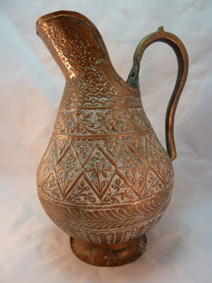 Antique Repousse Copper Water Pitcher Jug Indian Islamic