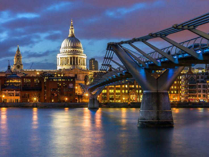 собор святого павла, london, лондон, england, англия, great britain, великобритания, город, вечер, подсветка, освещение, дома
