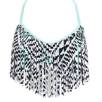 geometric fringe bikini top