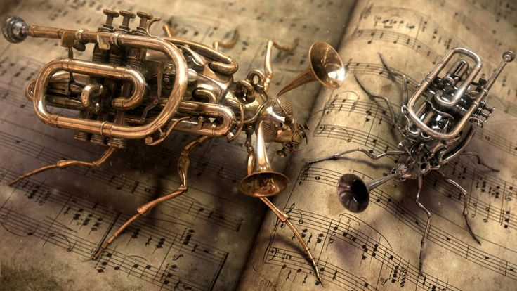 Steampunk music trumpet insect bugs art