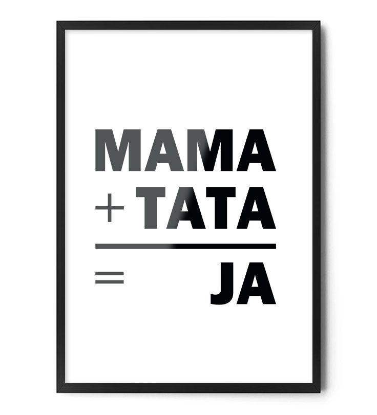 Plakat MAMA+TATA=JA www.foxartstudio.pl