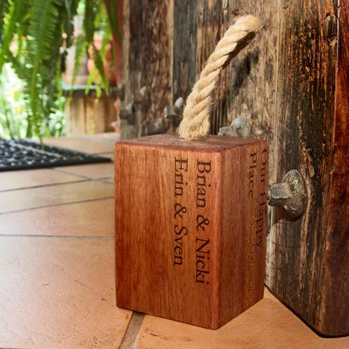 Personalised Saligna Wooden Door Stop
