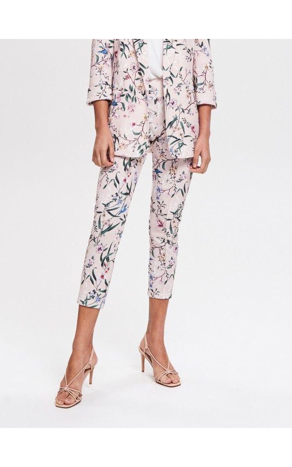 97f729b7e19e7 Spodnie w kwiaty, Spodnie, wielobarwn, RESERVED | Garnitur damski - stylowe  urozmaicenie w 2019 | Trousers women, Trousers i Blazers for women