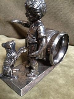 Antique Hunter: Victorian Figural Napkin Ring Little Boy with Dog