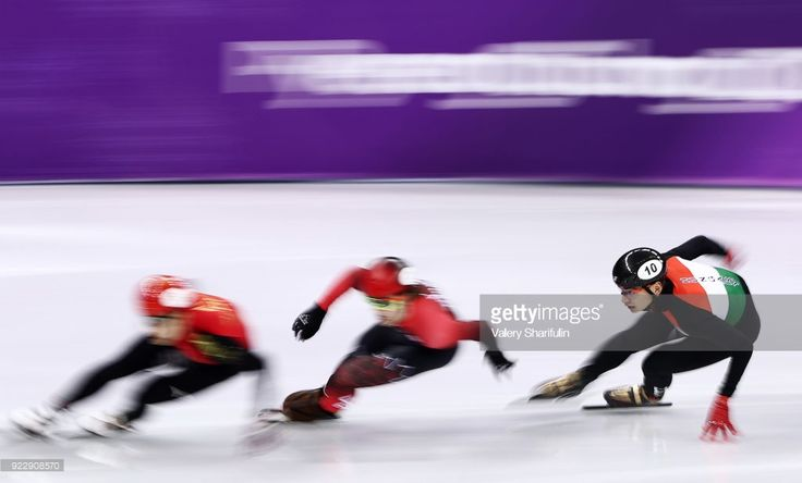 Shaolin Sandor Lui (R) of Hungary competes in a mens 500m short track speed skating semifinal race during the 2018 Winter Olympic Games, at the Gangneung Ice Arena. Valery Sharifulin/TASS